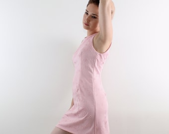 Pink dress, Pink tailored dress, Pink mini dress, Pink party dress, Pink vintage dress, Pink 60's dress, Pink retro dress, Sleeveless dress