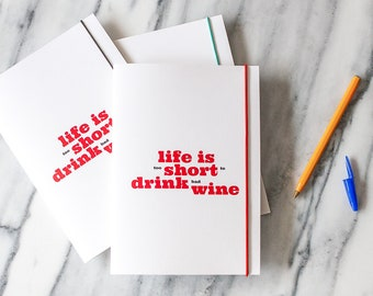 Life is too short to drink bad wine, wine notebook, review notebook,