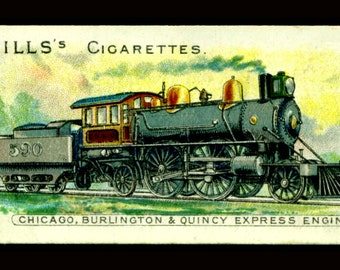 Locomotive - Chicago, Burlington & Quincy Express ca 1901 -  Cigarette card Wall art - Giclee Art Print