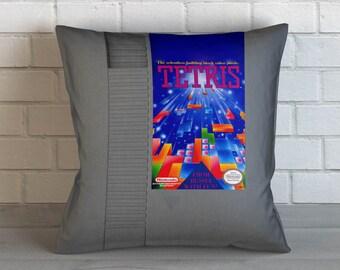 Old School Game Cartridge: Tetris, Throw Pillow, Decorative Pillow