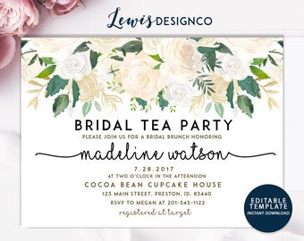 Bridal Tea Party Invite | Bridal Shower Invitation | Watercolor White Floral Wedding | Editable Template Printable Card | Instant Download