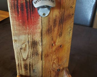 Hand crafted bottle opener with catcher, from reclaimed timber