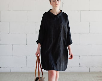 100% Black Linen Dress, hand made in London, sustainable, artisan, fashion