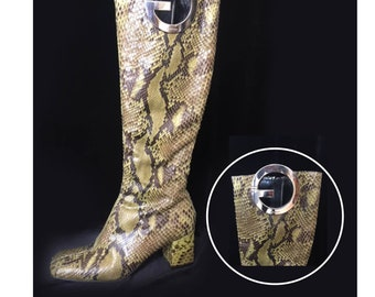 GUCCI knee-high green snakeskin with silver G