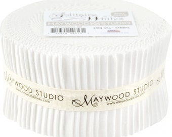 """Solitaire Whites Fabric Jelly Roll Pre-cut Fabric Strips Sushi Roll Maywood Studio - 40 strips 2.5"""" wide - 100% Cotton"""