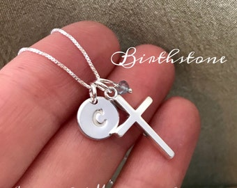 Baptism Jewelry - Confirmation Gift - First Holy Communion Necklace Goddaughter gift - Sterling Silver Birthstone Cross Necklace for Baptism