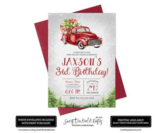 Christmas Truck Birthday Invitation Boys Holiday Party Invites Rustic Digital File or Printed Invitations Kids Winter Party Printables