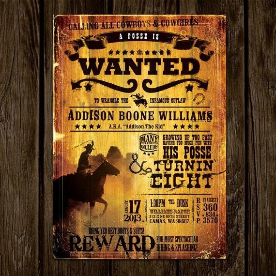 Wanted Poster Birthday Invitation