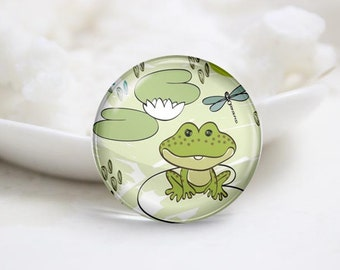 Handmade Round Frog Photo Glass Cabochons (P3437)