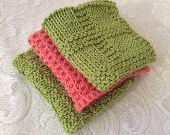 New Dishcloths Hand-knitted Soft Stretchy Cotton