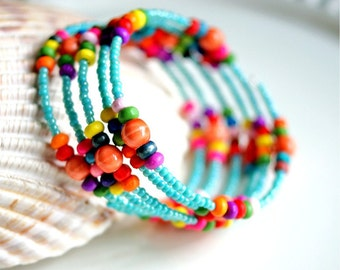 colorful memory wire beaded bracelet