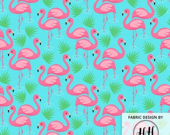 Flamingo Paradise Fabric By The Yard - Pink Flamingo Palm Pond Whimsical Quilting Print in Yards & Fat Quarter