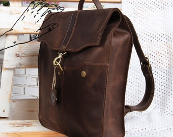 Brown leather backpack, Handmade leather backpack, Laptop backpack women, Handmade rucksack men, Brown backpack leather, Brown rucksack