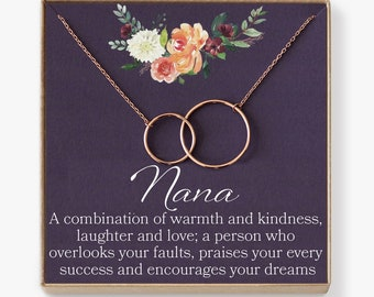 Nana Necklace: Nana Gift, Nana Necklace, Nana Jewelry, Mother's Day Gift for Grandma, Mother's Day Jewelry, Grandma, 2 Interlocking Circles
