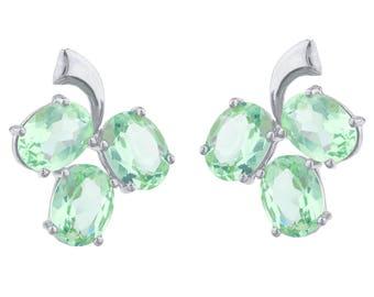 9 Ct Green Sapphire Oval Shape Design Stud Earrings