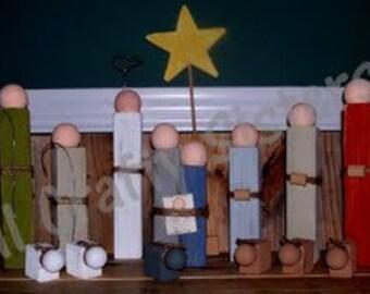 Wood Nativity Set