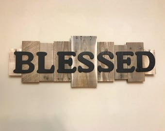 Rustic Wood Sign -BLESSED