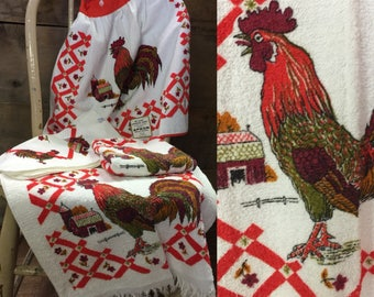 Vintage 1950 1960s Cannon Deadstock DE LUXE Terry Cloth Rooster Chicken Towel and Apron Set. Washcloth, hand towel, apron.