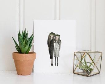 Sibling Portrait | Custom Portrait | Family Illustration | Watercolor | Hand Painted | Sibling Illustration