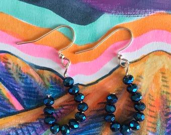 Shimmery Blue U-Shaped Earrings