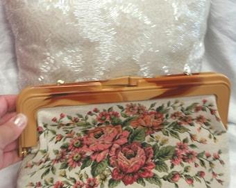 vintage clutch bag, sparkle fabric, very large clutch, cream floral clutch, large vintage bag, faux tortoiseshell frame
