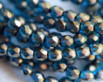 4mm Fire Polished Beads - Czech Glass Beads - Halo - Azurite - Dark Teal Luster - 4mm Faceted Beads - Bead Soup Beads