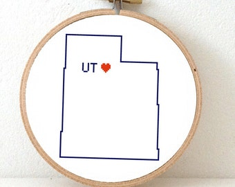 UTAH Map Cross Stitch Pattern. Utah state embroidery pattern. Utah ornament pattern with Salt Lake City. UT decor. Utah Utes