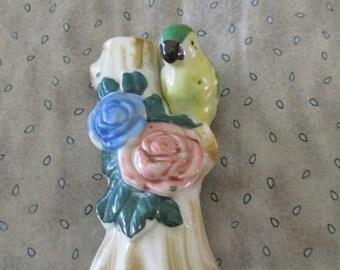 Vintage Made in Japan Bird Vase Floral Accents