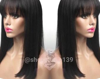 Human Hair  Blend Straight Bang Black Easy 2 Wear Wig