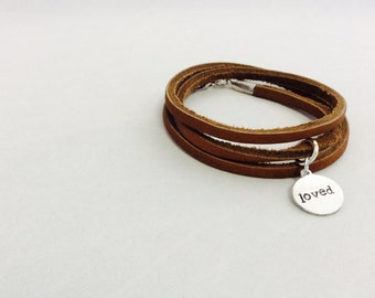 Brown Leather wrap bracelet-Loved