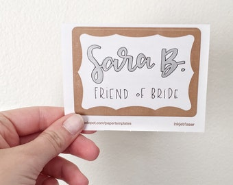 Hand Lettered Name Tags, Bridal Shower Name Tags, Event Name Tags, Hand Lettered