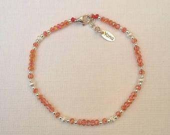Yana Elisa bracelet 925 sterling silver and orange swarovski