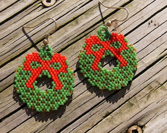Handmade beaded holiday wreath earrings