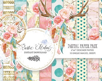 Watercolor Dreamcatcher,  Patterns ,Boho Chic Planner Illustration ,Dreamcatcher ,Floral Digital ,Paper Pack, Feather PaperPack,