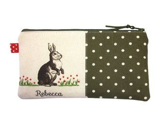 Rabbit Pencil Case, Personalised Bunny Lover Gift, Pencil Bag with Name