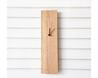 Modern Wall Clock from Salvaged Wood, Rectangular Wooden Clock ELIAN