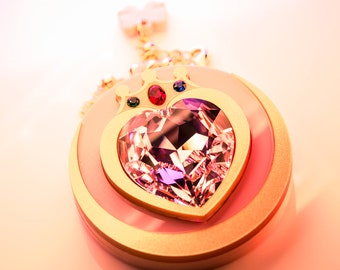 Double Sided Prism Heart Compact Laser Cut Acrylic Sailor Moon Inspired Necklace