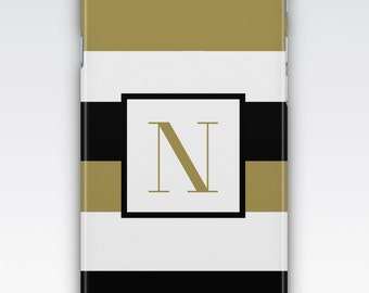 Case for iPhone 8, iPhone 6s,  iPhone 6 Plus,  iPhone 5s,  iPhone SE,  iPhone 5c,  iPhone 7,  Black & White Gold Stripes Monogram