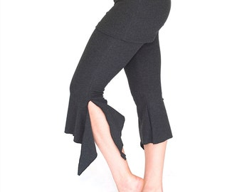 Yoga dance capri pants with attached skirt - FIERCE CAPRIS - festival, bellydance, bloomers, cropped, with ties