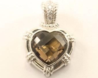 Vintage Judith Ripka Heart CZ Pendant 925 Sterling Silver PD 2352