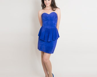 1980s Suede Leather Peplum Dress - Vintage 80s Dress - Strapless Sweetheart Mini Dress in Electric Royal Blue - S