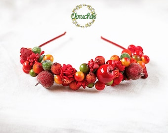Headband with bright fruits and berries Fruit headpiece Fairy fruit crown Bridal Shower Party Adult fall headband,Christmas gifts