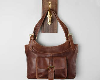 Leather Handbag in Distressed Brown, Leather Purse