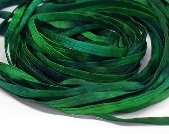 5PC. EVERGREEN  Hand Dyed Silk Cording//4MM Hand Dyed DIY Silk Necklace/Bracelet Cording//Hand Dyed 5PC. Silk Cording Bundles