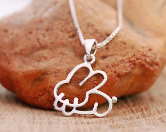 Sterling Silver Rabbit Necklace, Sterling Silver Bunny Necklace, Silver Rabbit Necklace, Rabbit Necklace, Girls Necklace, Gift for Her