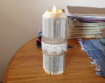 Book Fold Pillar Candle Rustic Decor Book Sculpture