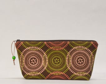 Graphic Circles Large Padded Zipper Pouch Gadget Case Cosmetics Project Bag - READY TO SHIP