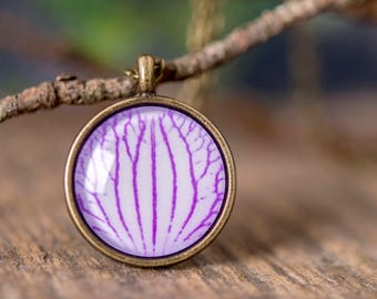 Orchid petal necklace, wild orchid necklace, purple orchid petal necklace, nature necklace, nature jewelry, flower necklace,