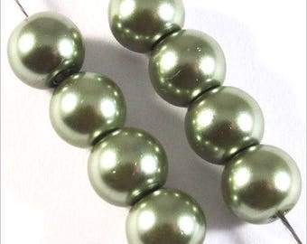 Set of 50 pearl beads 6mm olive green Czech glass