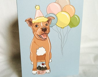 Red Pit Bull 'n Balloons Greeting Card